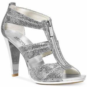 Michael Kors Silver Sparkly Berkley T-Strap Shoes
